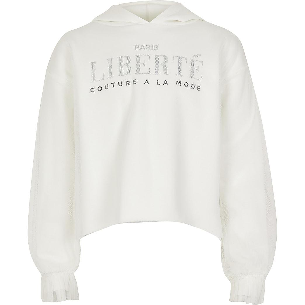 Girls white 'liberte' mesh hoodie