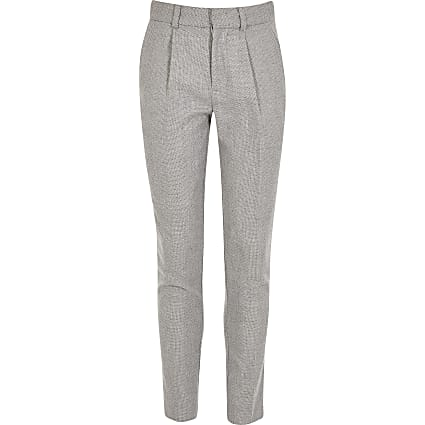 Boys grey textured tapered leg suit trousers