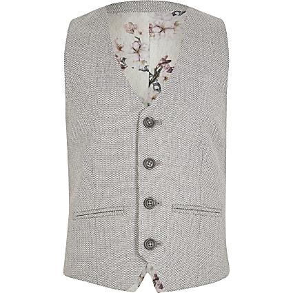 Boys grey textured suit waistcoat