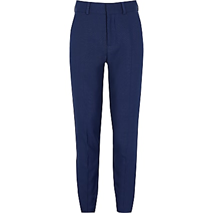 Boys navy pin dot print suit trousers
