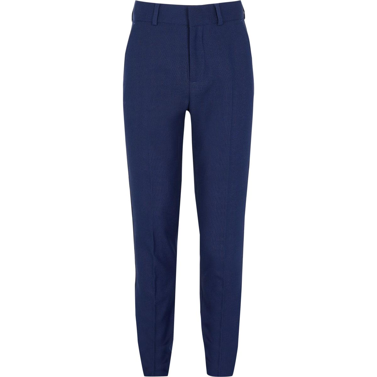 Marineblauwe slim-fit pantalon met stippenprint voor jongens