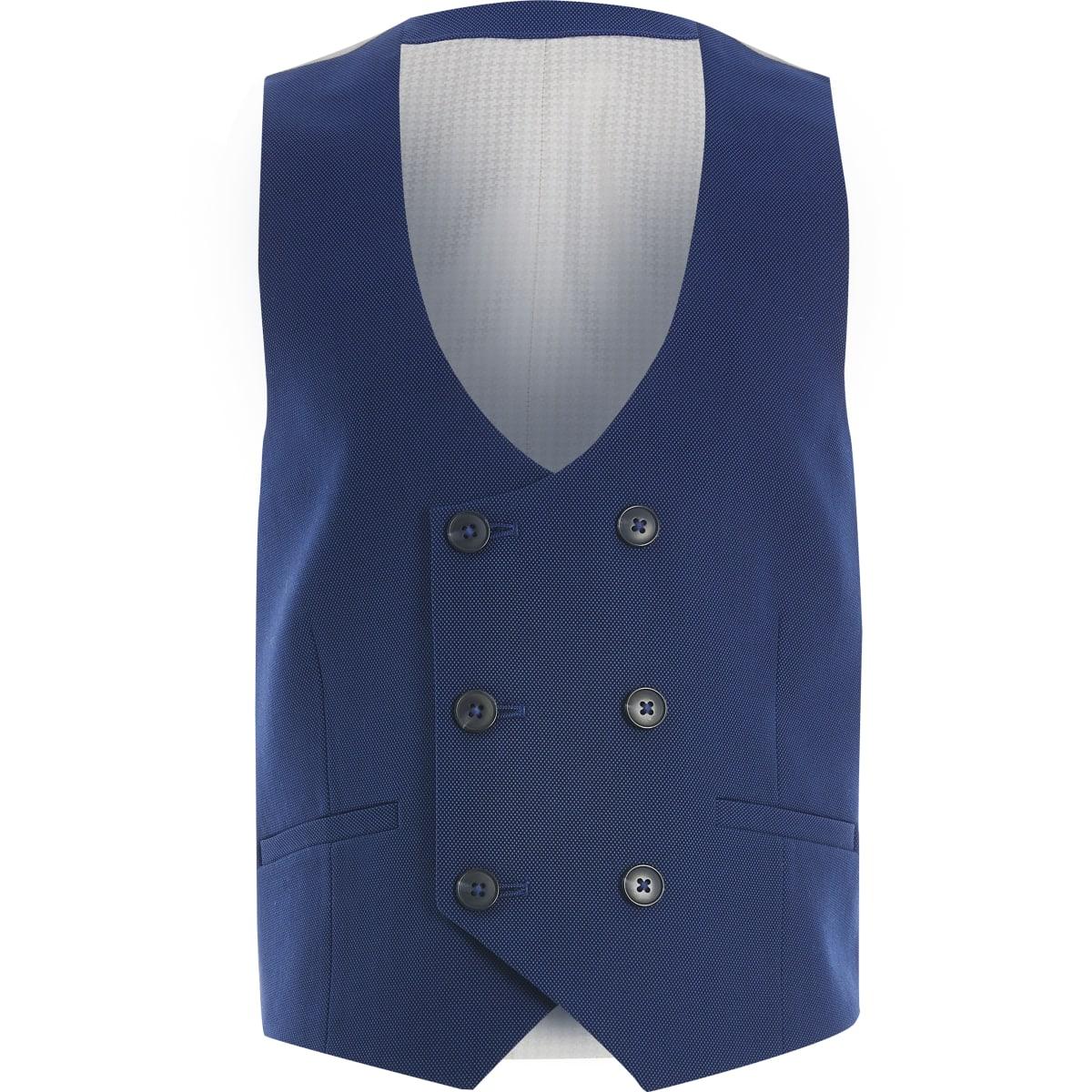 Boys blue pindot double breasted waistcoat