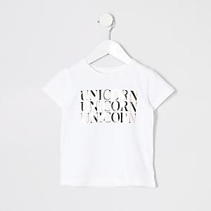 T-shirt à inscription « Unicorn » métallisée effet miroir pour mini fille