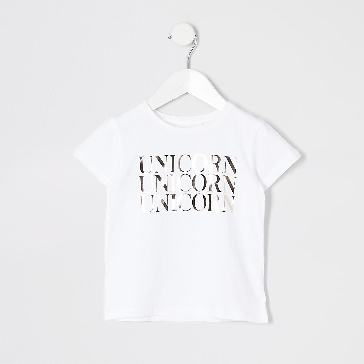 Mini - T-shirt met eenhoorn in spiegelfolie voor meisjes