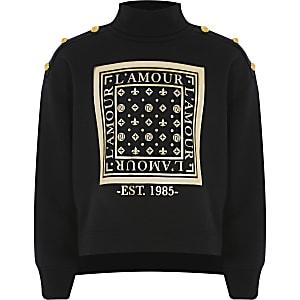 Schwarzes Sweatshirt mit Rollkragen und Print für Mädchen