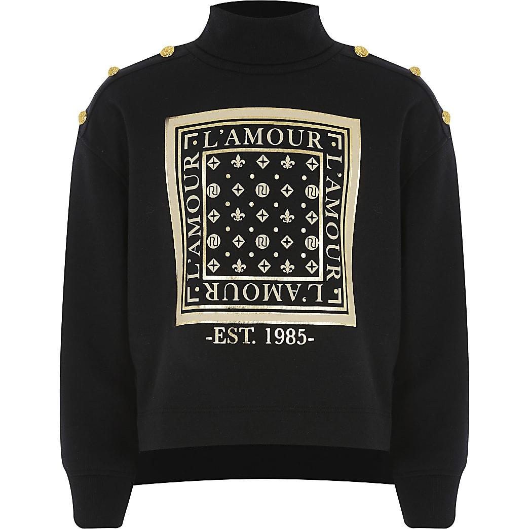 Girls black printed roll neck sweatshirt