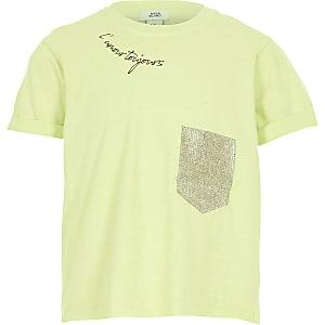 T-shirt court vert citron à poche ornée de strass pour fille