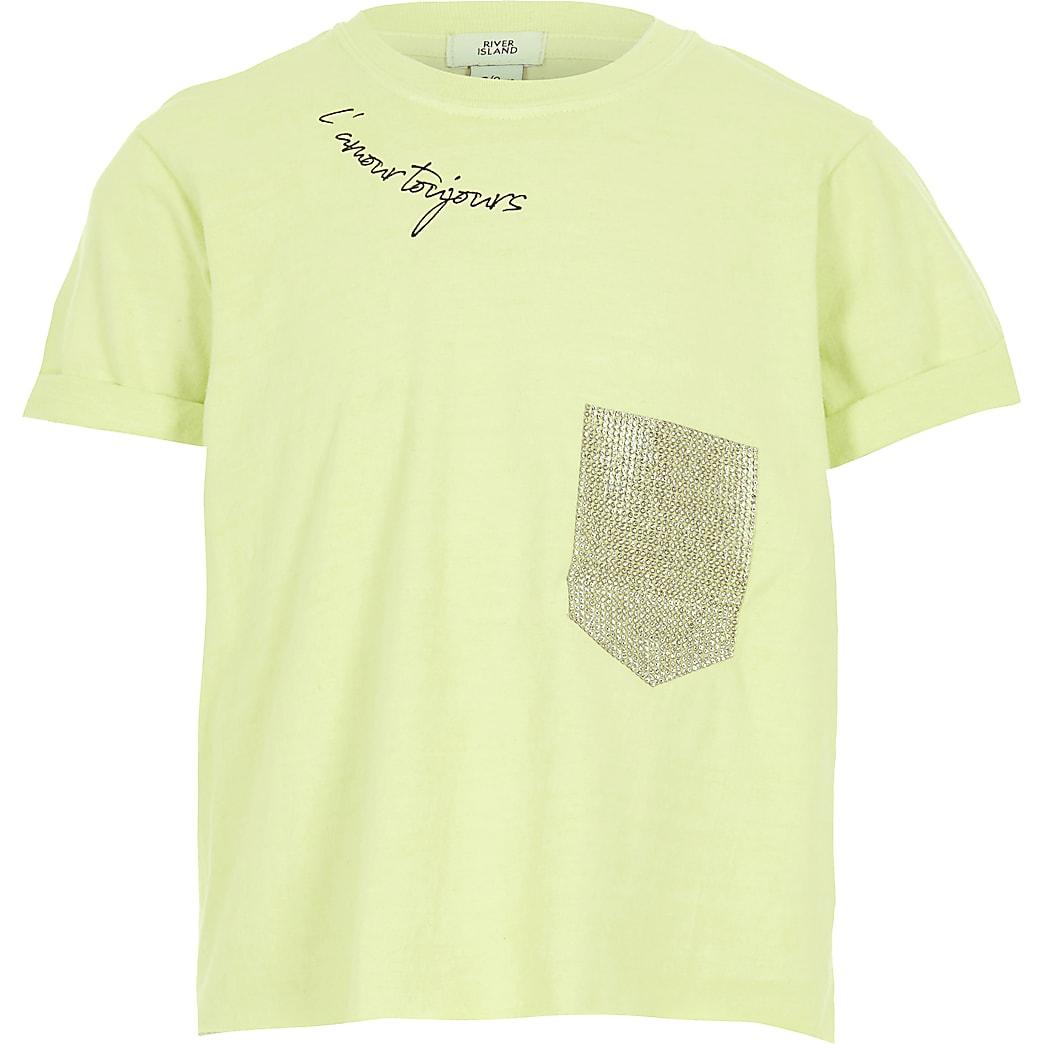 Girls lime diamante pocket cropped T-shirt