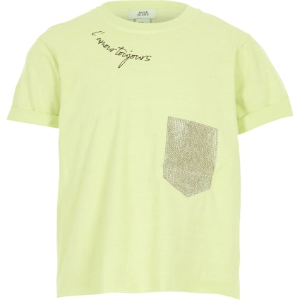 Girls lime diamante pocket cropped T-shirt