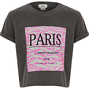 T-shirt court «Paris» gris foncé pour fille
