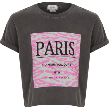 Girls dark grey 'Paris' box crop T-shirt