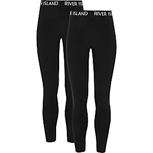 Lot de2 leggings noirs avec impriméRIà la taille pour fille