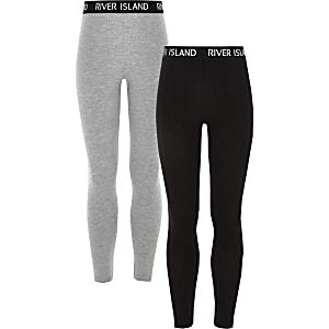 Lot de2 leggings noir et gris pour fille