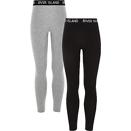 Girls black and grey leggings 2 pack