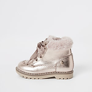 Mini – Schnürstiefel in Gold mit Kunstfellbesatz für Mädchen