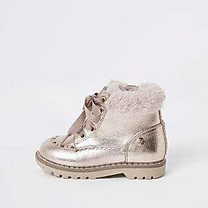 Mini - Goudkleurige laarzen met vetersluiting en rand van imitatiebont voor meisjes