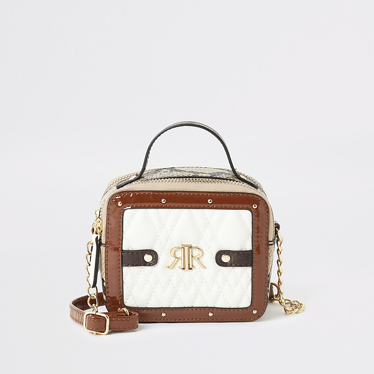 Girls cream snake quilted cross body bag