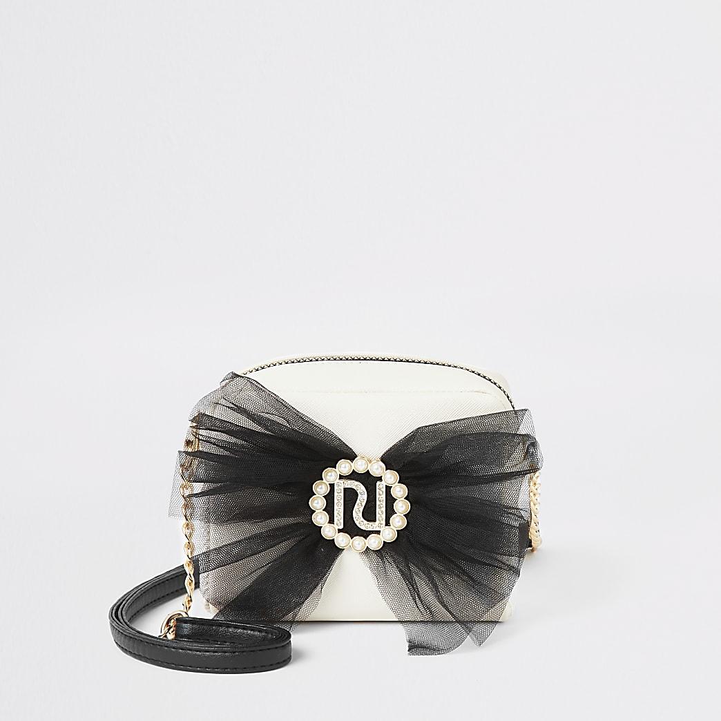 Crèmekleurige crossbodytas met strik en parels in RI-vorm voor meisjes