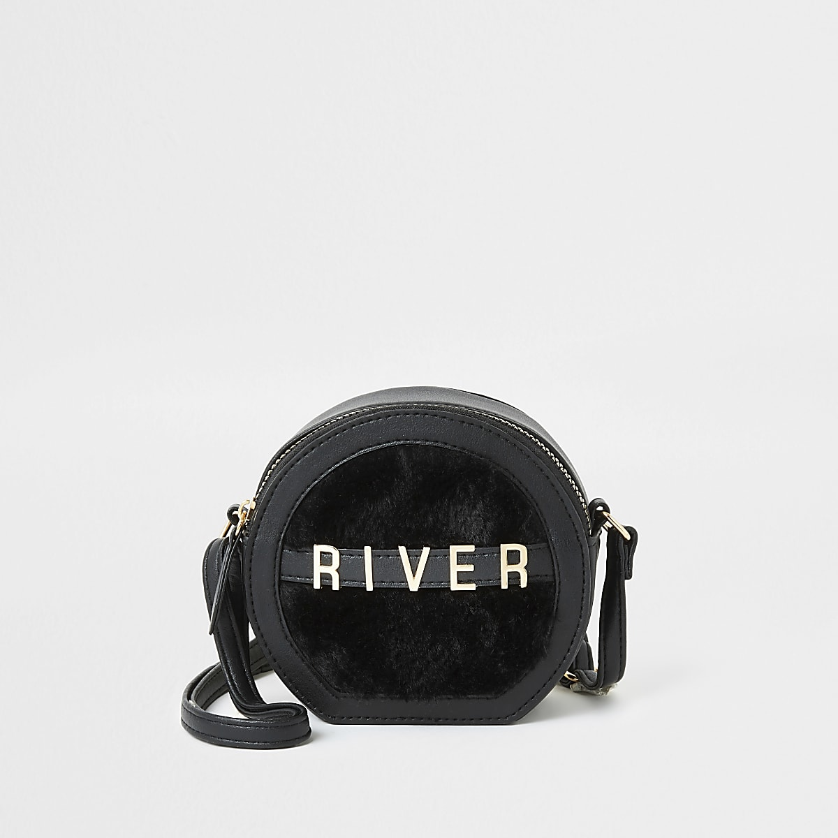 Zwarte ronde crossbodytas met 'River'-tekst voor meisjes