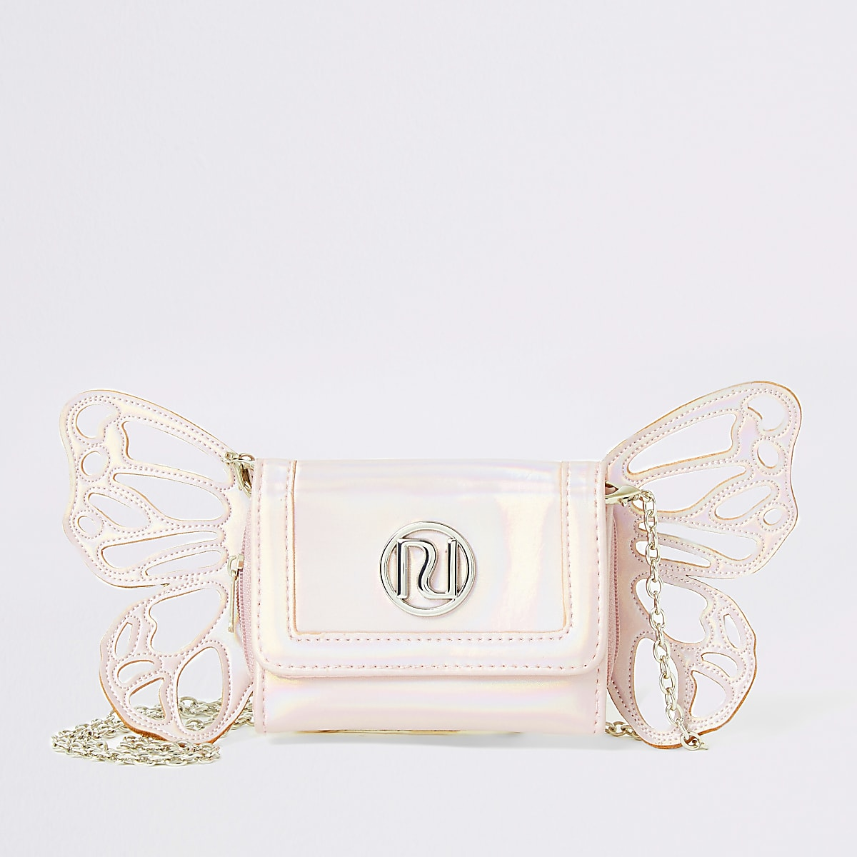 Girls pink metallic butterfly cross body bag