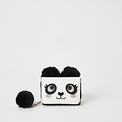 Black panda embellished trifold purse