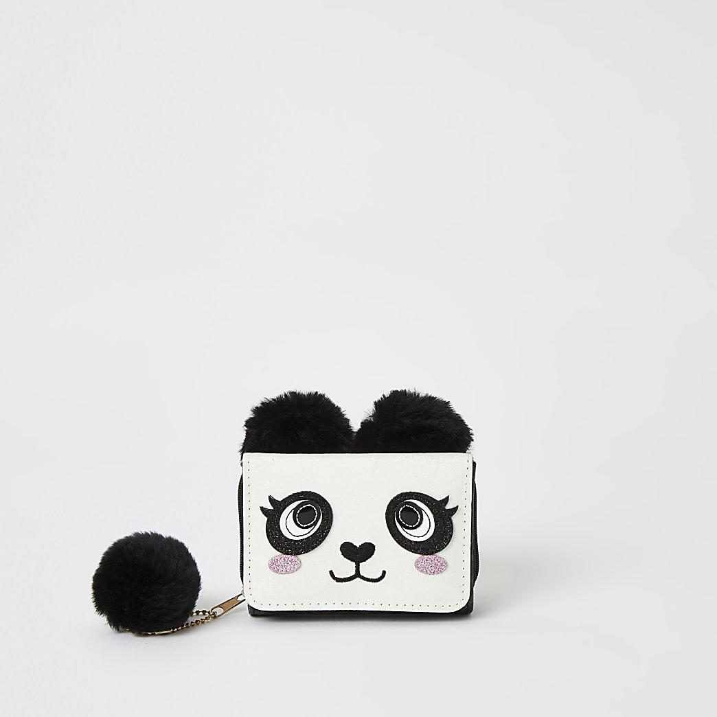 Zwarte portemonnee met drie vakken verfraaid als panda