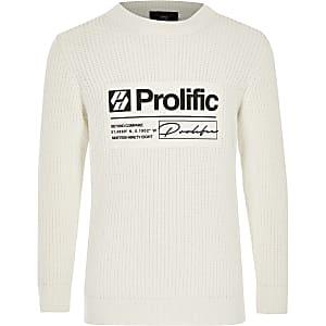 Prolific – Cremefarbener Pullover mit Rundhalsausschnitt für Jungen