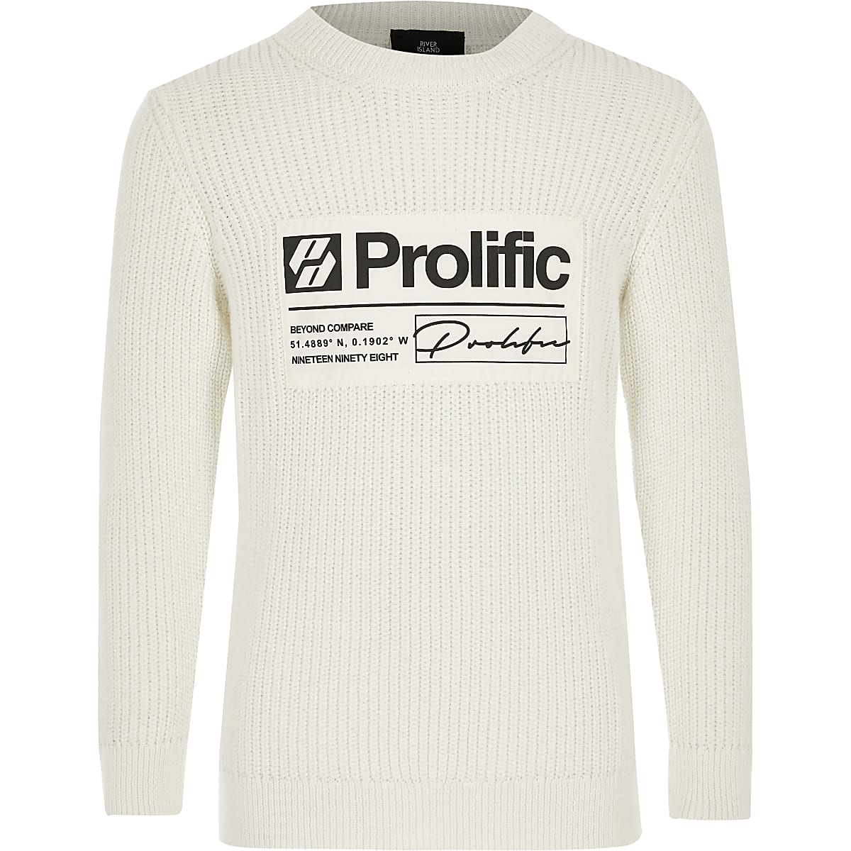 Boys cream Prolific crew neck jumper