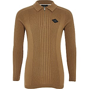 Boys brown zip rib knitted polo shirt