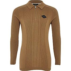 Boys brown zip rib knitted polo shirt