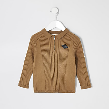 Mini boys beige zip rib knitted polo shirt