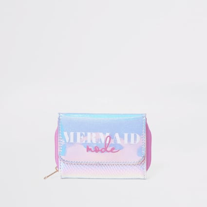 Girls silver mermaid mode trifold purse