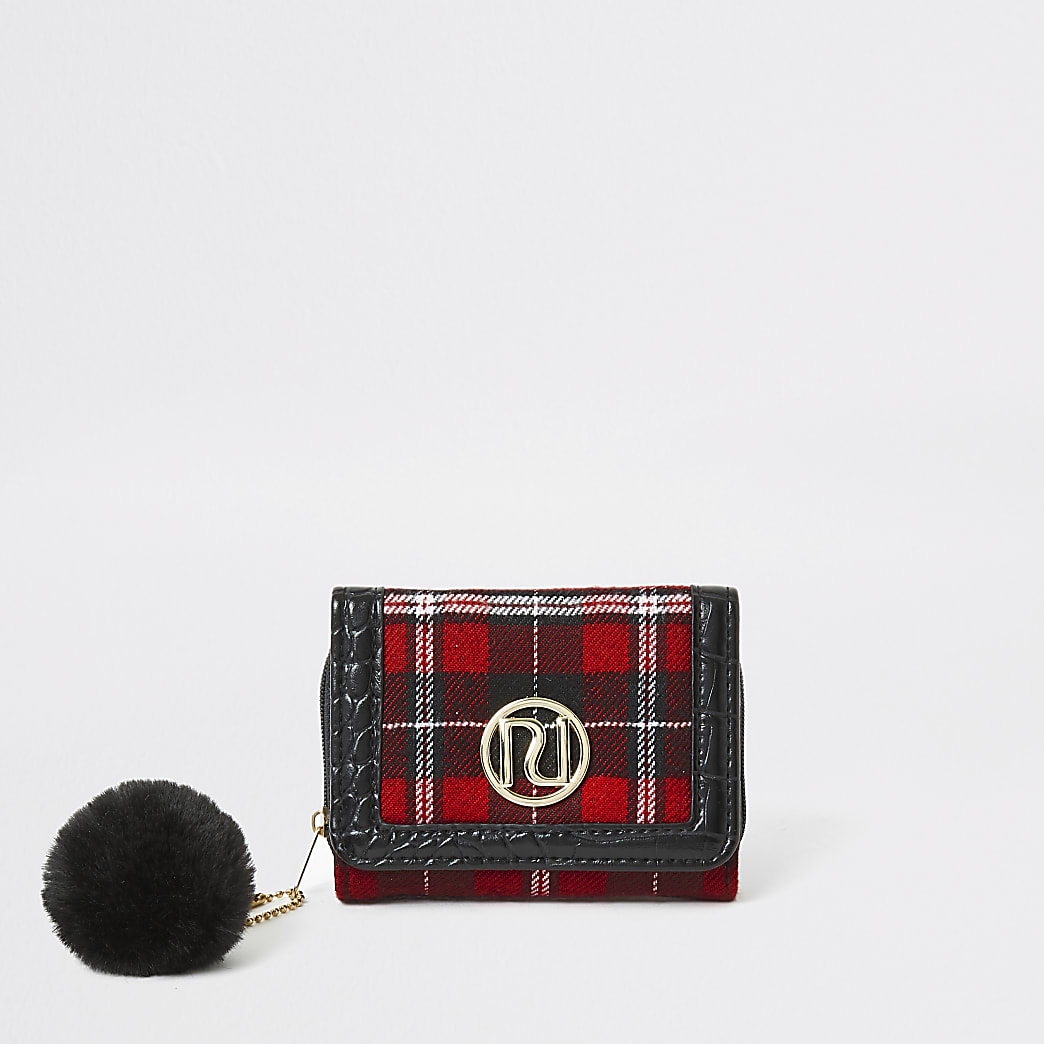 Girls red tartan RI trifold purse