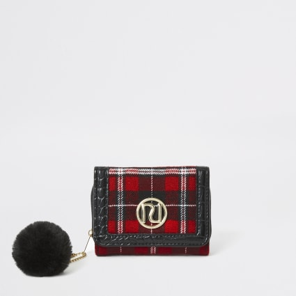 Girls red tartan RI trifold purse
