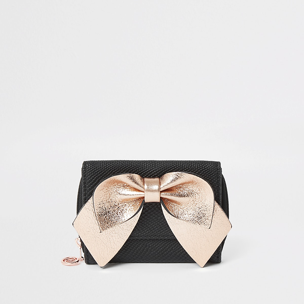 Girls black pink bow trifold purse