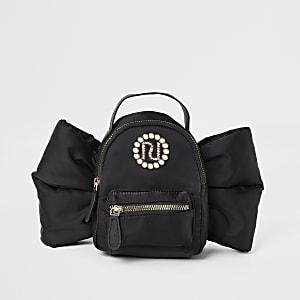Mini sac à dos nœud RI noir ornépour fille