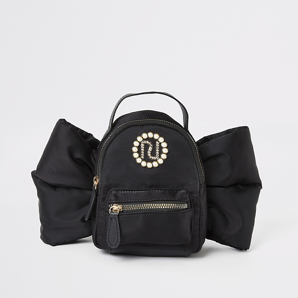 Girls black bow embellished RI mini backpack