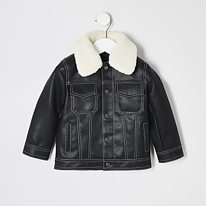 Mini boys black contrast stitch jacket