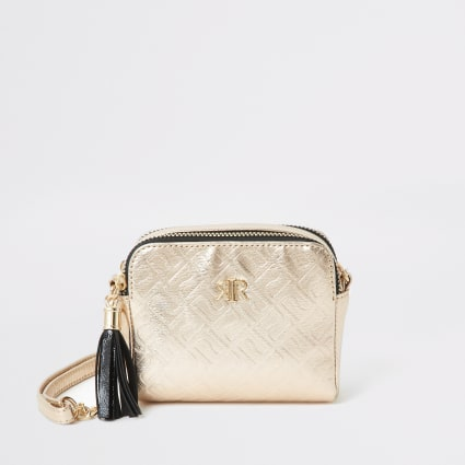 Girls rose gold RI embossed cross body bag