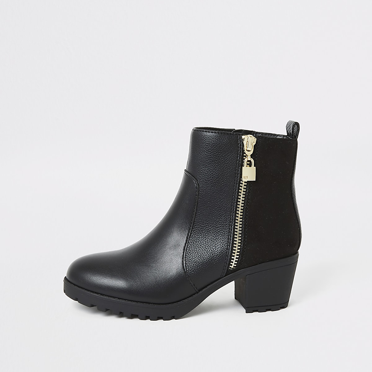 Girls black locket charm heeled boots