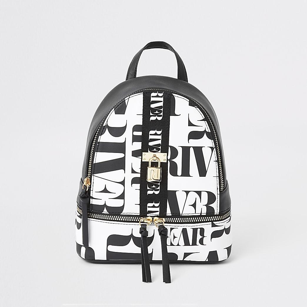 Girls black RI mono print backpack
