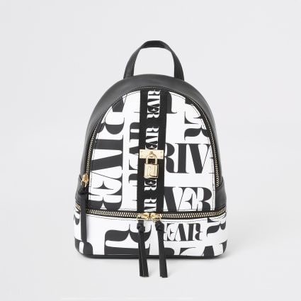 Girls black RI mono print backpack