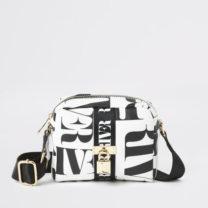 Girls black RI mono print cross body bag