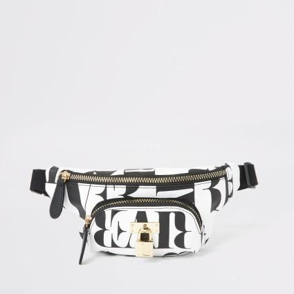 Black RI mono padlock charm belted bumbag