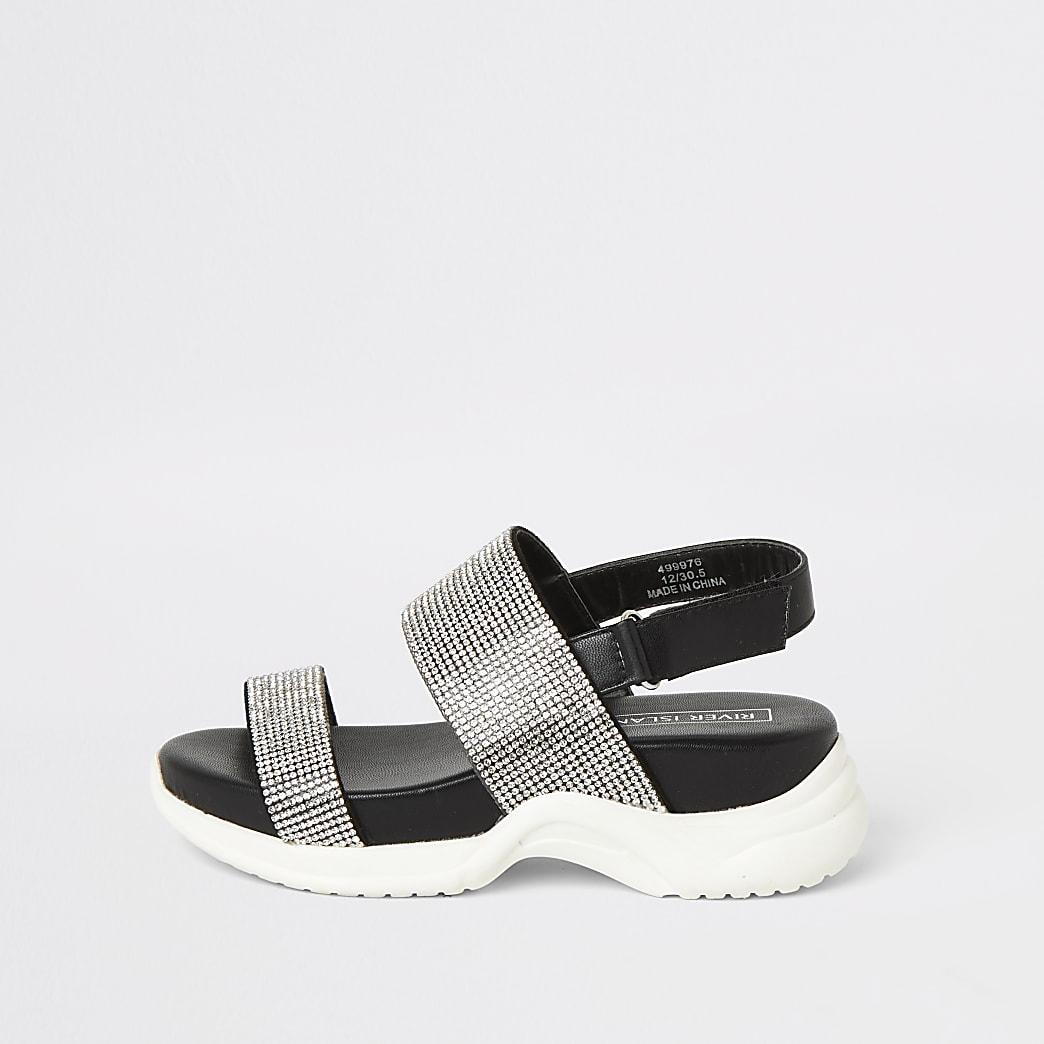 Girls black diamante chunky sole sandals
