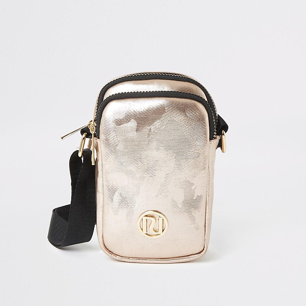 Rose gold camo print cross body bag