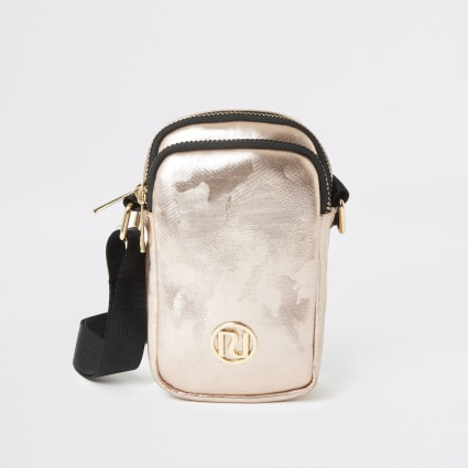 Rose gold camo print cross body bag