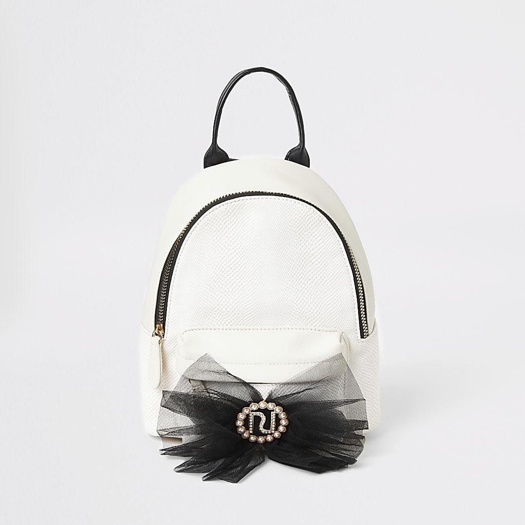 Girls cream textured RI bow backpack