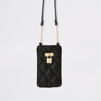 Girls black quilted cross body pouch bag
