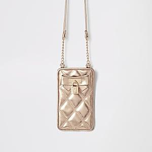 Gesteppte Umhängetasche in Gold für Mädchen